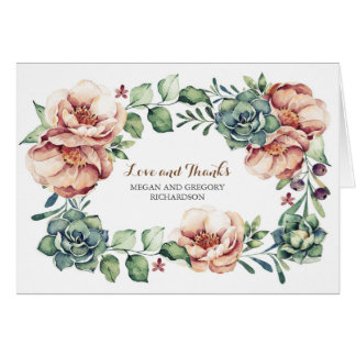 ivory flowers and succulents fall thank you card