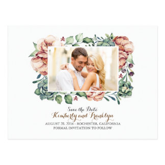 ivory flowers and succulents photo save the date postcard