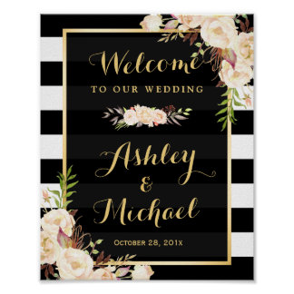 Ivory Flowers Black White Stripe Wedding Sign