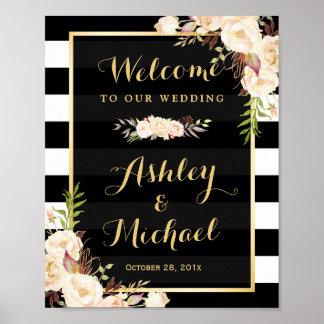 Ivory Flowers Black White Stripe Wedding Sign Poster