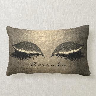 Ivory Foxier Gold Gray Black Custom Glitter Makeup Lumbar Pillow