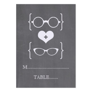 Ivory Geeky Glasses Chalkboard Place Cards Large Business Cards (Pack Of 100)