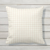 Ivory Gingham Pattern Outdoor Pillows