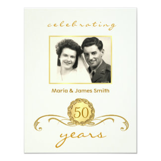Ivory & Gold - 50th Anniversary Party Invitations