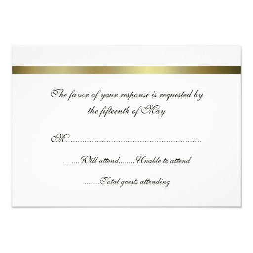 Ivory & Gold All Purpose Wedding Response Card Personalized Invite