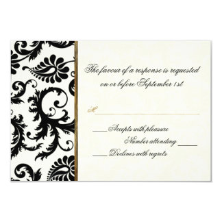 Ivory, Gold, and Black Damask Reply Card