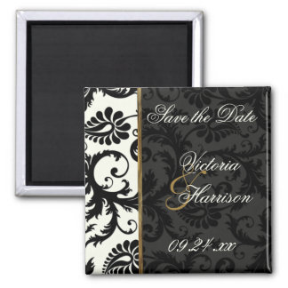 Ivory, Gold, and Black Damask Save the Date Magnet