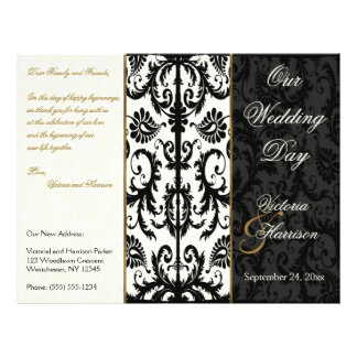 Ivory, Gold, and Black Damask Wedding Program