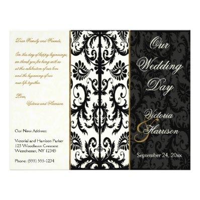 Ivory, Gold, and Black Damask Wedding Program