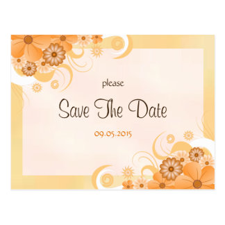 Ivory Gold and Peach Floral Save The Date Cards