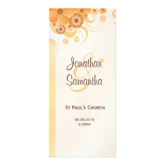 Ivory Gold and Peach Floral Slim Wedding Programs