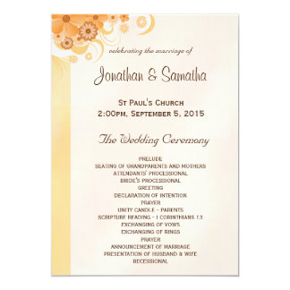 Ivory Gold and Peach Floral Wedding Programs Card