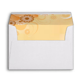 Ivory Gold and Peach Hibiscus Floral Elegant Envelope