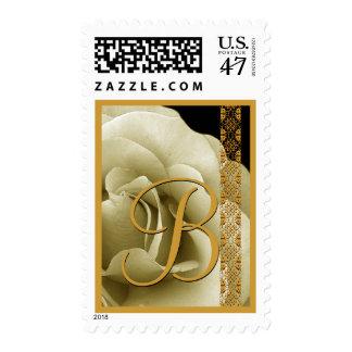 IVORY GOLD BLACK Rose Lace Custom Monogram B Postage