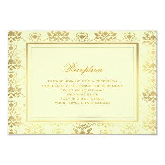 Ivory & Gold Damask Reception Info Card