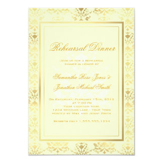 Ivory & Gold Damask Rehearsal Dinner 4.5x6.25 Paper Invitation Card
