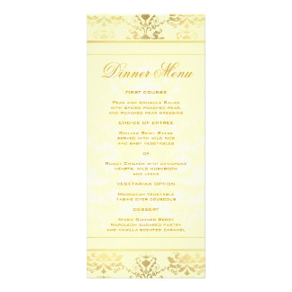 Ivory Gold Damask Slim Dinner Menu Rack Card