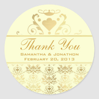 Ivory & Gold Damask Wedding Thank You Classic Round Sticker