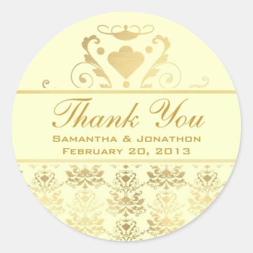 ivory gold damask wedding thank you classic round