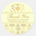 Ivory & Gold Damask Wedding Thank You Sticker