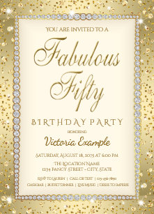 50 and fabulous invitations zazzle ivory gold diamond fabulous 50 birthday invitation filmwisefo