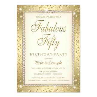 Ivory Gold Diamond Fabulous 50 Birthday Invitation