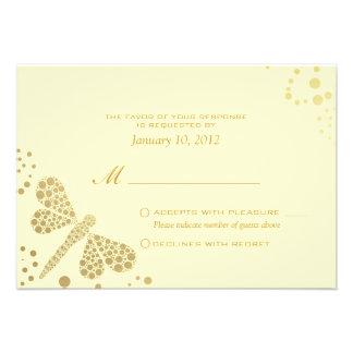 Ivory Gold Dragonfly Pointillism Custom RSVP Custom Invitations