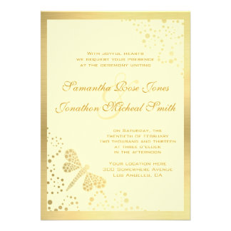 Ivory Gold Dragonfly Pointillism Custom Wedding Announcement