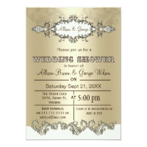 Ivory Gold Elegant couples wedding shower Invites
