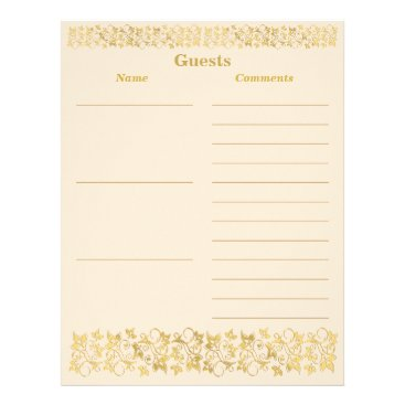 Ivory, Gold Floral Guest Book Paper Letterhead