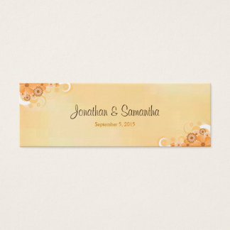 Ivory Gold Floral Hibiscus Small Wedding Favor Tag
