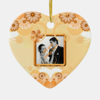 Ivory Gold Floral Wedding Heart Keepsake Ornaments