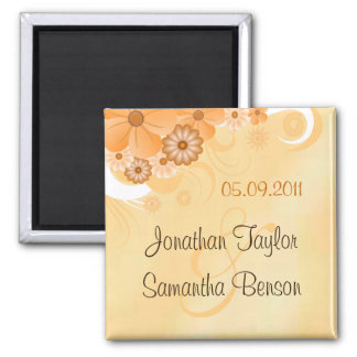 Ivory Gold Floral Wedding Save The Date Magnets