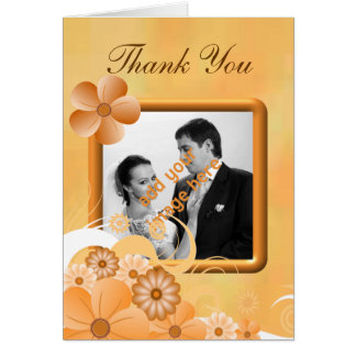 Ivory Gold Floral Wedding Thank You Photo Cards