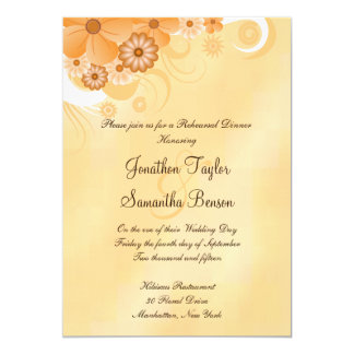 Ivory Gold Hibiscus Floral 5x7 Rehearsal Dinner Card