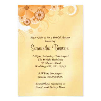 Ivory Gold Hibiscus Floral Bridal Shower Invite