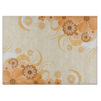 Ivory Gold Hibiscus Floral Glass Chopping Board