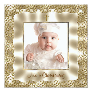 Ivory Gold Lace Baby Photo Baptism Christening Custom Announcements