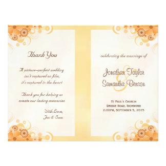 Ivory Gold Peach Floral Bi-Fold Wedding Programs