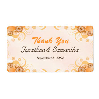 Ivory Gold Peach Floral Large Wedding Thank You Label