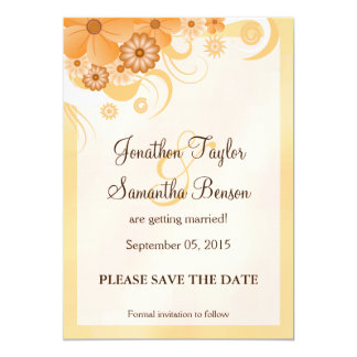 Ivory Gold Peach Floral Save The Date Announcement