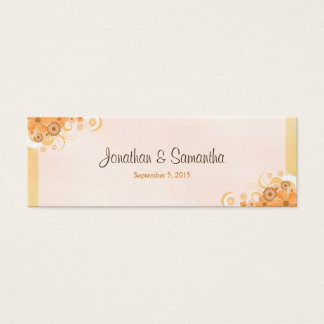 Ivory Gold Peach Floral Small Wedding Favor Tags