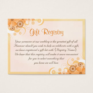 Ivory Gold Peach Floral Wedding Gift Registry Card
