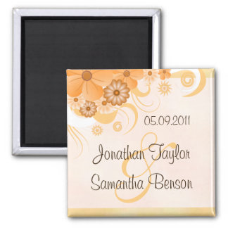 Ivory Gold Peach Floral Wedding Save The Date Magnet