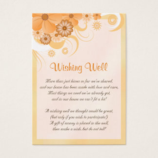 Ivory Gold Peach Floral Wedding Wishing Well Cards
