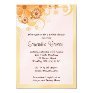 Ivory Gold Peach Hibiscus Floral Bridal Shower Card