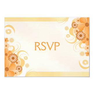 Ivory Gold Peach Hibiscus Floral RSVP Response Card