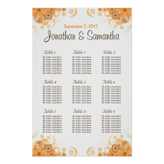 Ivory Gold Peach Wedding Table Seating Charts Poster