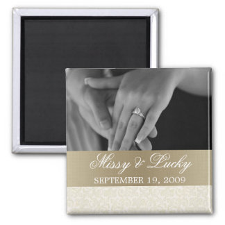Ivory Gold Save the Date Magnet
