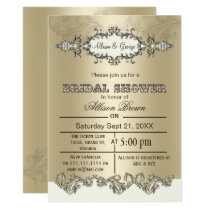 Ivory Gold Scroll Elegant bridal shower Invites